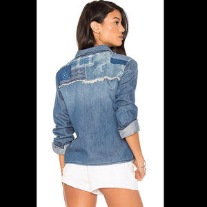 JOES Collection JOSIE Crop Denim Patchwork Shirt